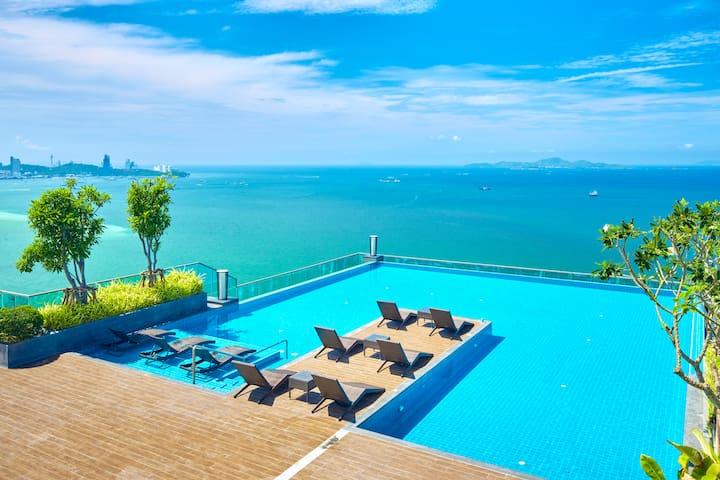 W TOWER,Luxury 2 bed beachfront#707 - Muang Pattaya - Apartment