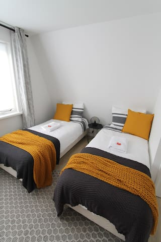 Two single beds, which can also be setup as a double.