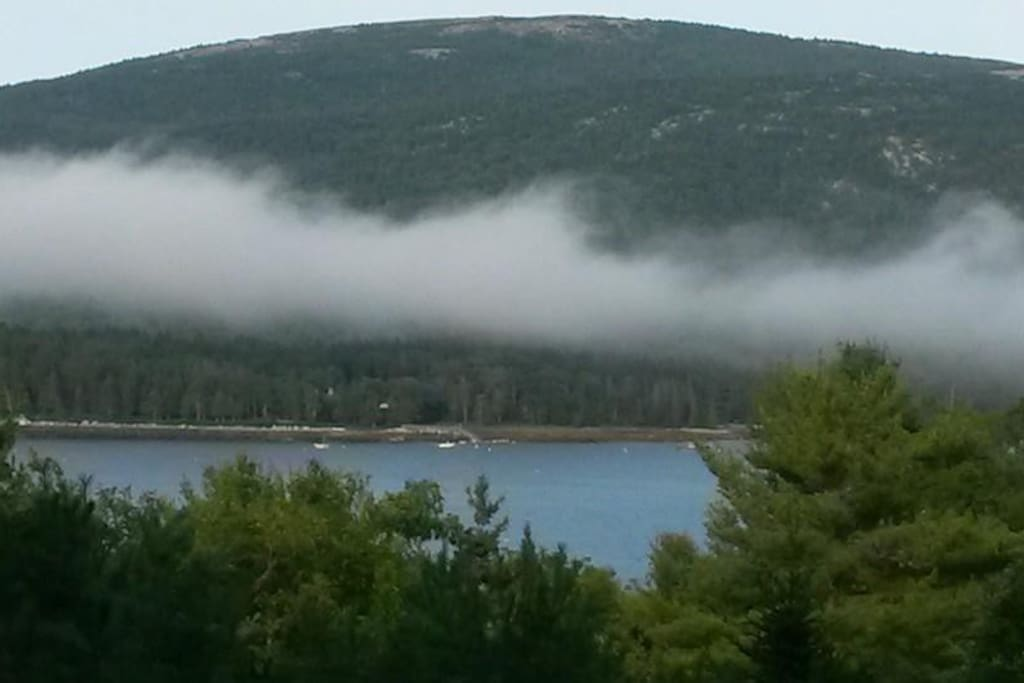 View from your very private deck over looking Somes Sound and Sargent Mountain