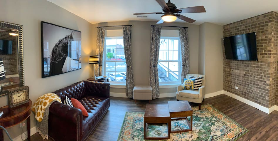 Living Area with View of Downtown Elizabethtown and a 55 inch Flat Screen Television