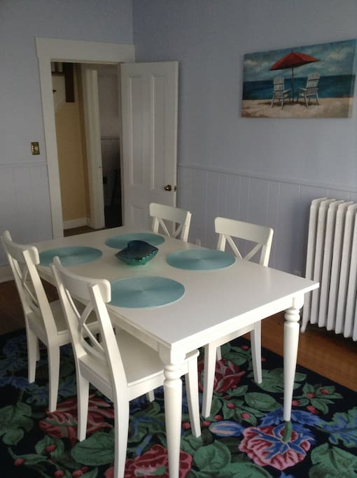 Dining room table expands for 6