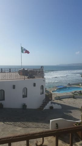 Our ocean front terrace with the flag pole