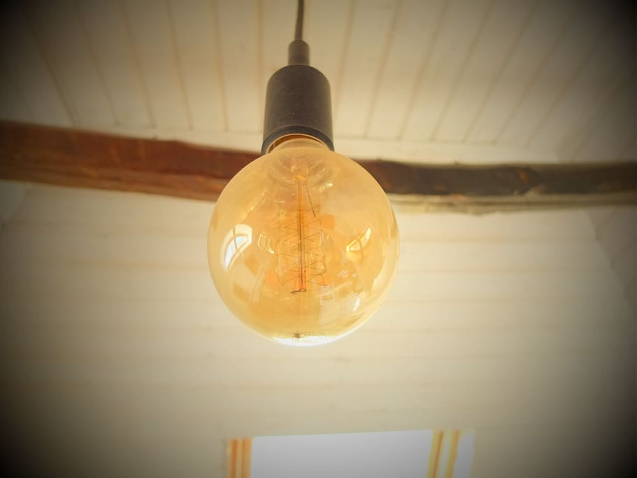 Lightbulb + Old Wood Beam