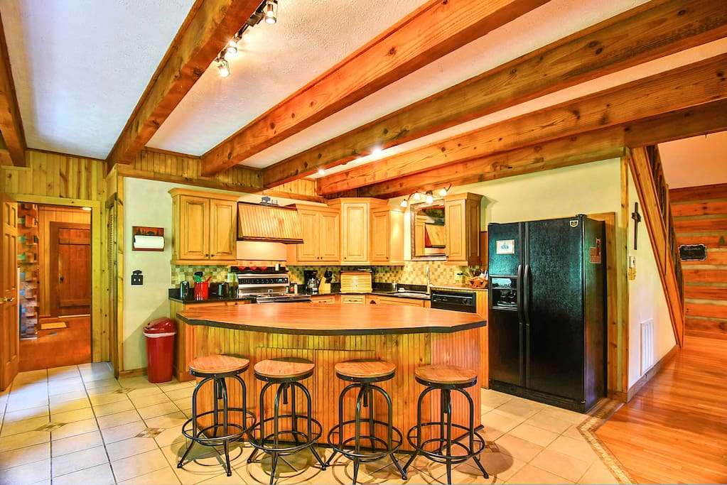 Kitchen is fully equipped to cook a meal at the cabin if you like.