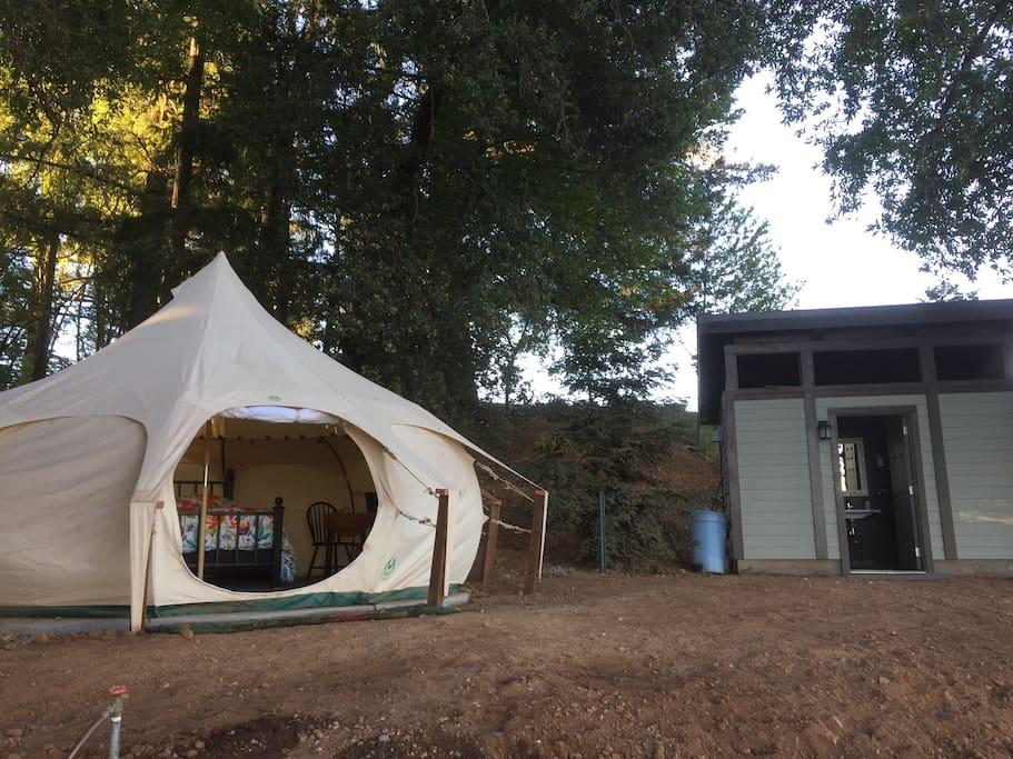 Yurt with outdoor bathroom