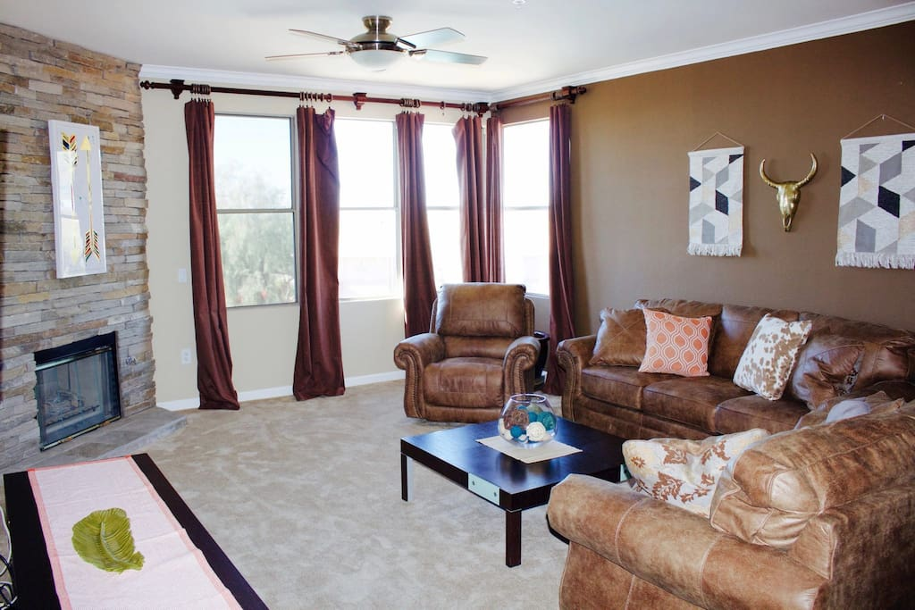 Living Room with Sofa, Love Seat, and Recliner