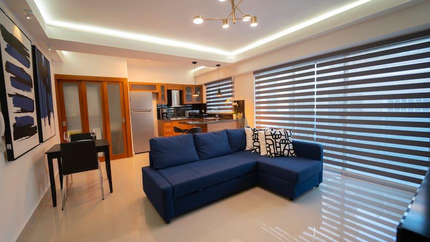 Aqui  puedes observar la amplitud de este confortable departamento de una habitación. Es luminoso, aireado, eficiente y cómodo.