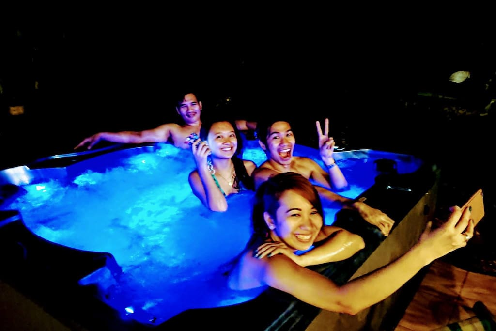 Chilling in the hot Jacuzzi