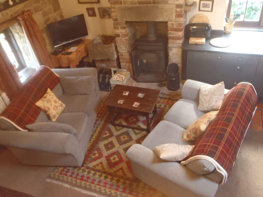 Two Sofas and Log Burner
