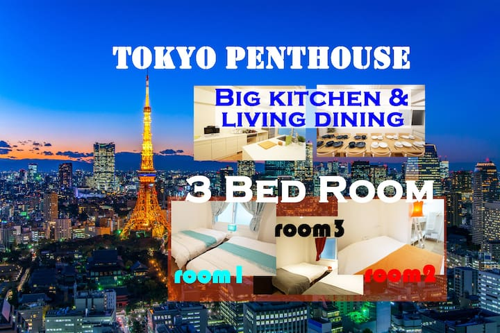 Central Tokyo☆3BR Penthouse suite☆Direct to Haneda