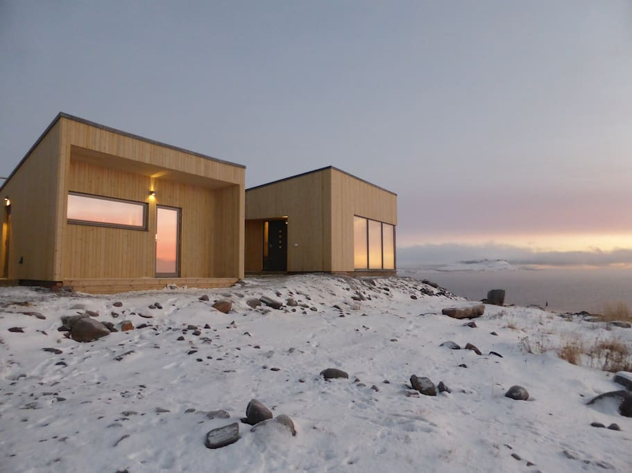 Varanger Lodge -Sauna with a panorama view