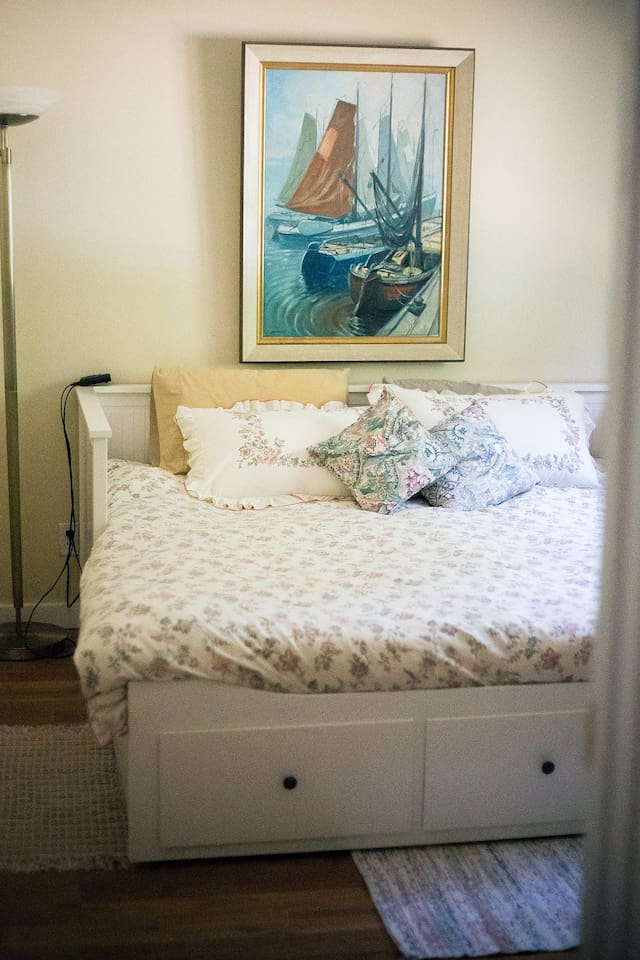 King size bed in our sailboat-themed room- consists of two single mattresses which can be used  separately if desired.