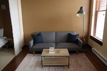 Living space with fold-out couch (and books)