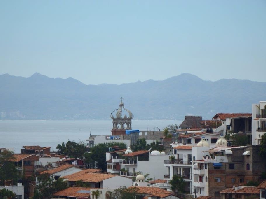 Beautiful Puerto Vallarta and Banderas Bay from the rooftop terrace
