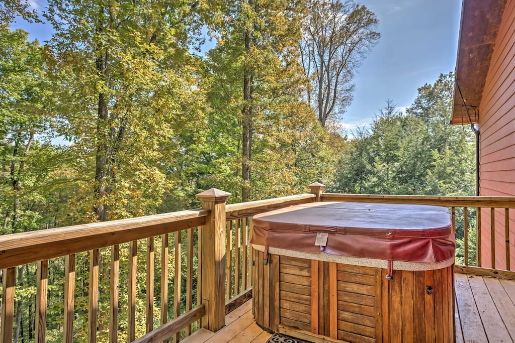 You'll love ending your days with a soak in your own private hot tub.