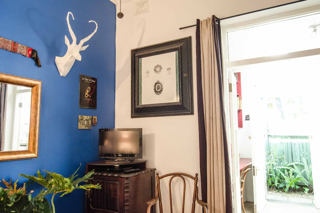 South African art and objects in bedroom
