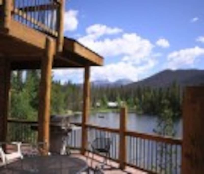 View from one of the decks.  Barbecue while watching the moose, birds and fish