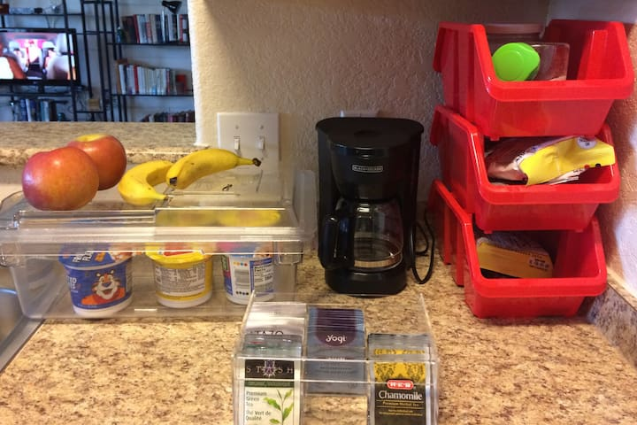 Help yourself to a few breakfast/snack items. Cereal, toast, coffee, tea bags and fruit bars are always available.