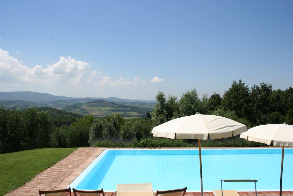La bellissima Piscina con la spettacolare Vista della Campagna Toscana e del borgo di San Gimignano.
