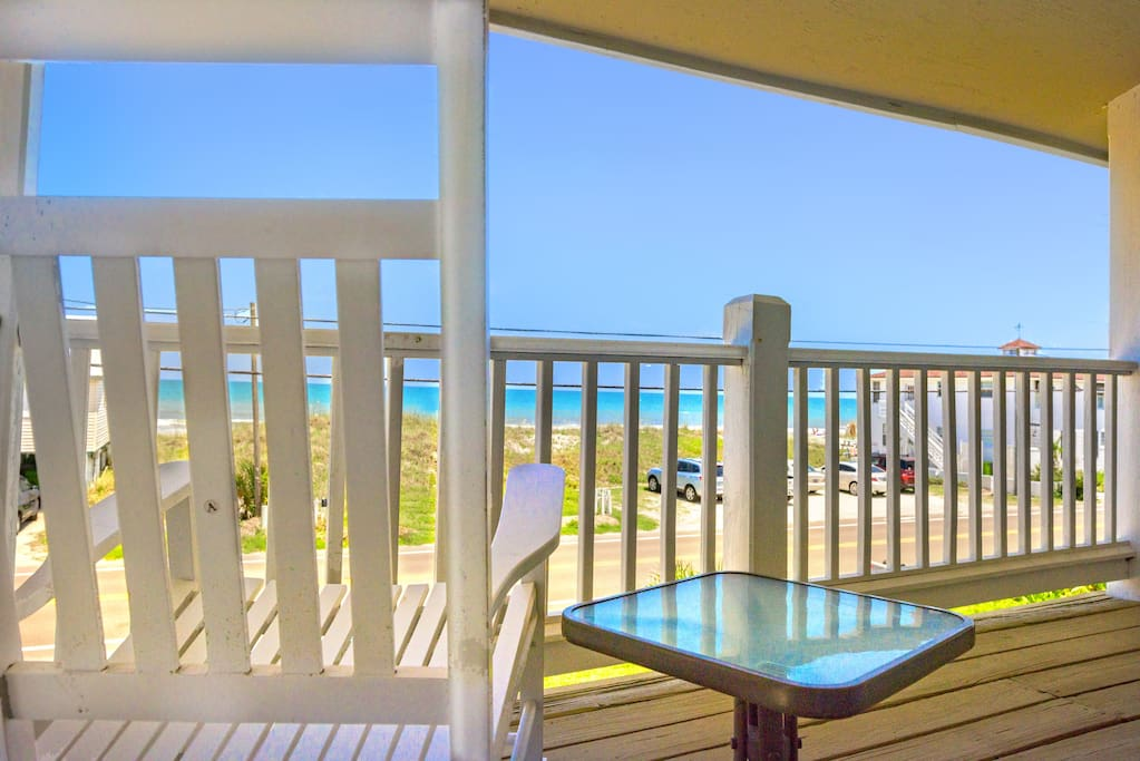 View from upstairs balcony with rocking chairs