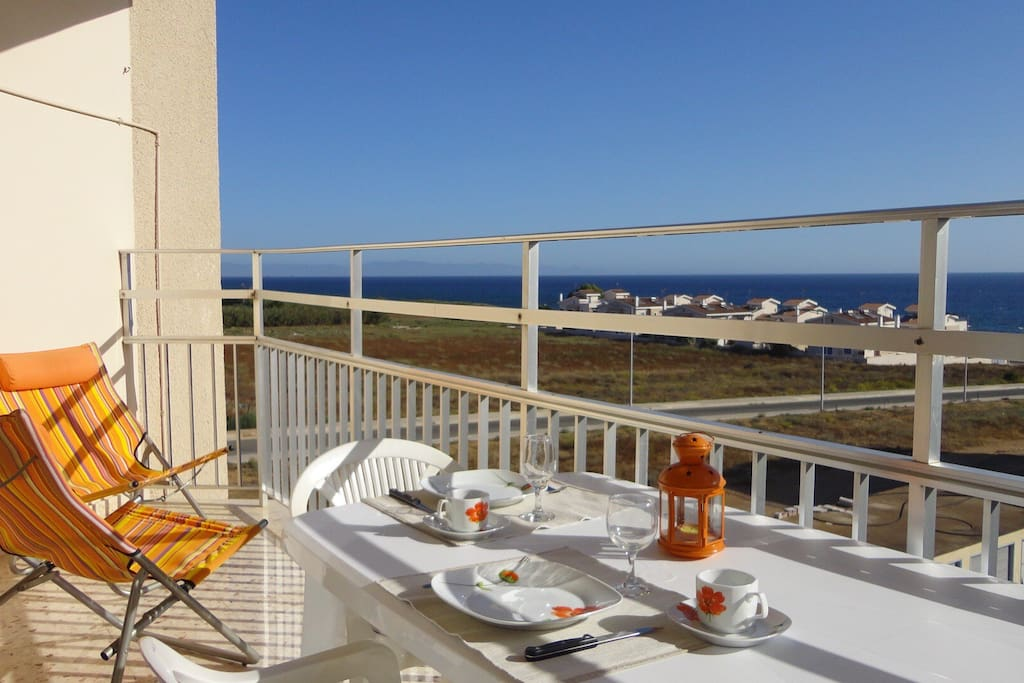 Large balcony with seaview
