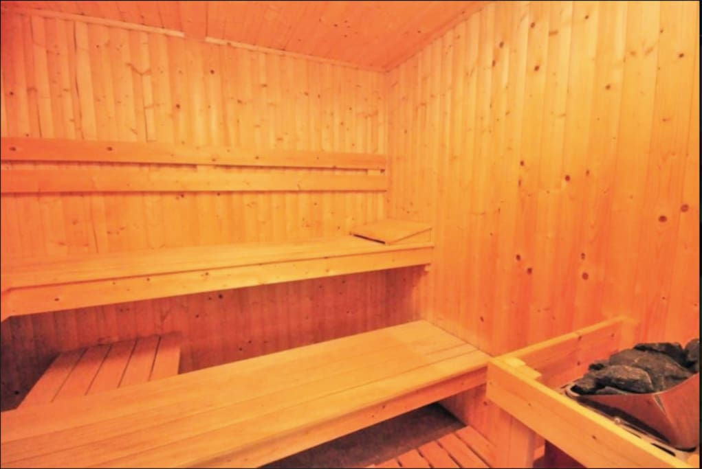 The Inside of our Sauna - yours to use when you feel like