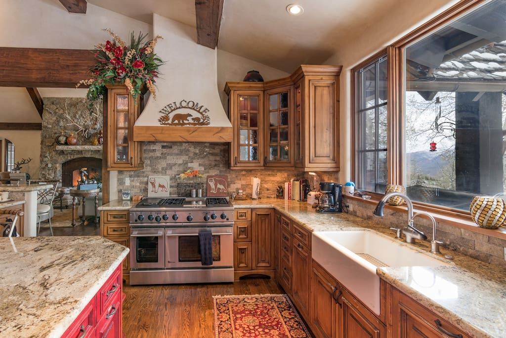 This large farmhouse-style kitchen offers tons of prep space and full-size appliances.