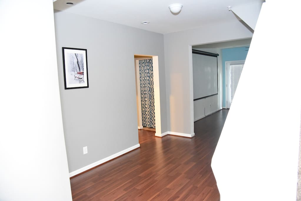 Basement Open Space with Mini Fridge and Microwave