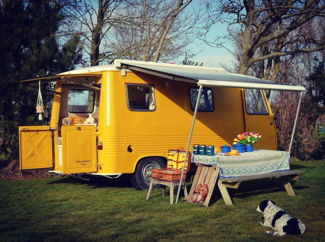 Bright yellow vintage camper for 2 - Breezand