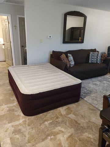 Location airbed can be set up in living room.