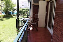 Our terrace is quite long, so it's perfect for children to play or store a hired bicycle.