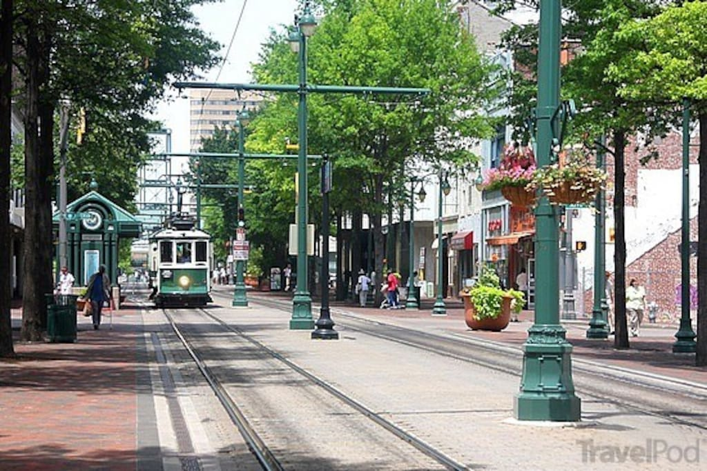 The condo is located directly on the prettiest stretch of downtown: the pedestrian-only Main Street Mall.