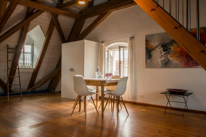 Villa Sommerach (Sommerach), Dachsuite (65qm) mit Fernseher und zwei Schlafräumen