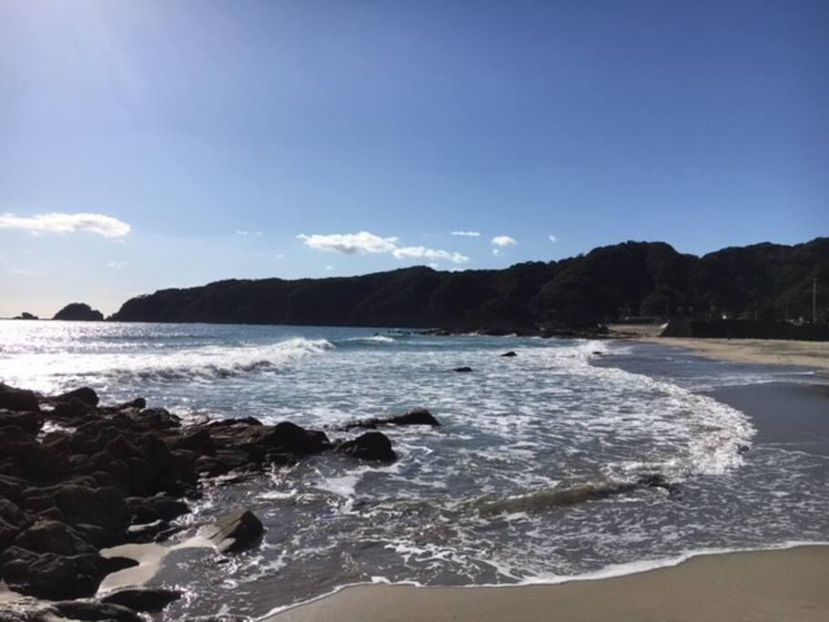 Beach less than 5 mins walk