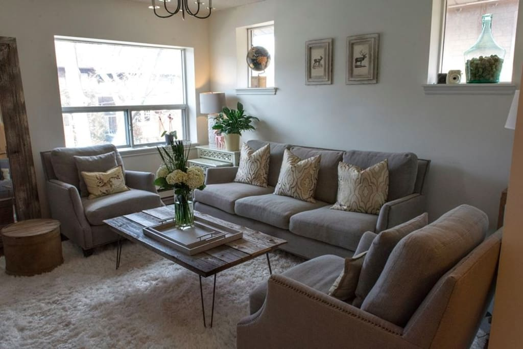 The living room - comfortable for visiting, reading, movie watching or early morning coffee.