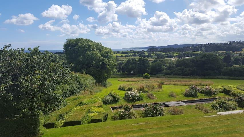 Huge sea views, big house and garden, near Fowey.