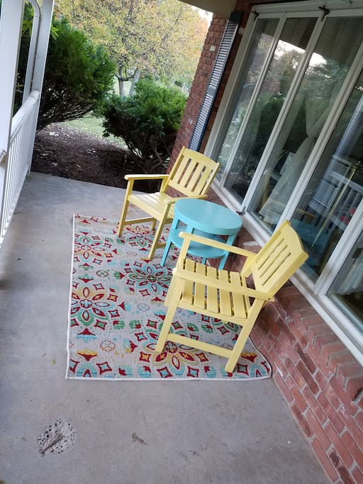On nicer days, relax or chat on the front porch