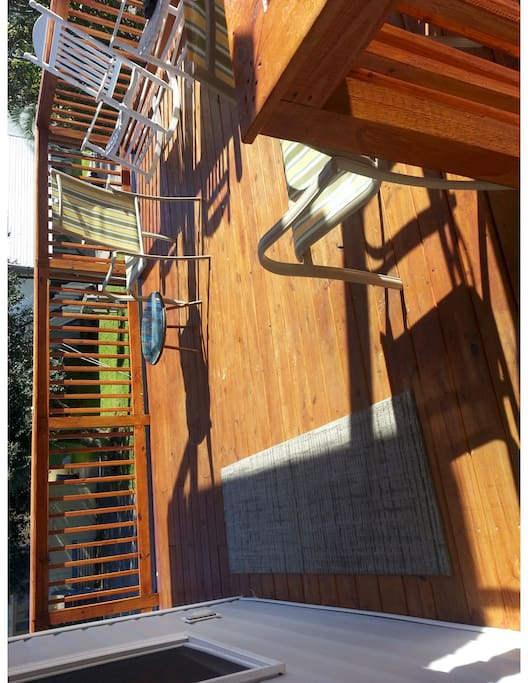 Deck, b4 furniture upgrade, partly covered with ceiling fan as well