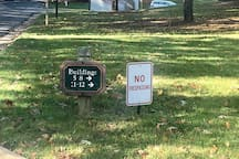TURN RIGHT AT THIS DIRECTIONAL SIGN.
