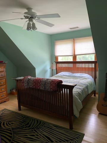 One queen size bed upstairs