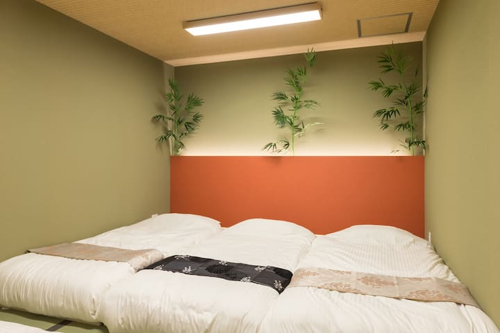 Bedroom 1 : All our bedrooms come with thick mattresses for a comfortable sleep through the night. Up to 4 single mattresses can be placed here!  After an exciting day in Osaka, return to the tranquility of our Japanese home.