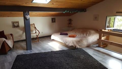 Joli studio indépendant : une chambre et une sdb