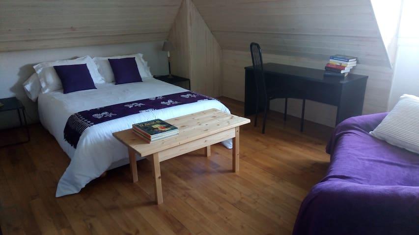 chambre avec canapé fixe, bureau, vue sur la ville