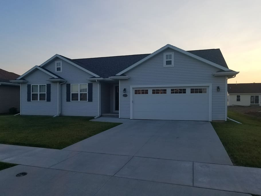 2.5 car garage, plenty of additional parking in driveway or street. Quiet new subdivision.