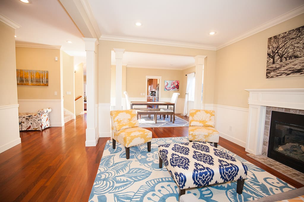 As you enter into the home - living room & dining room on the right, office, 1/2 bathroom, hallway closet on the left.