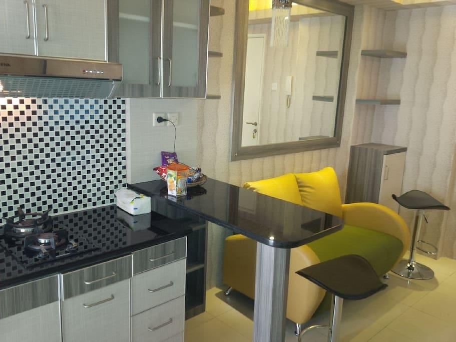 Kitchen set and sofa