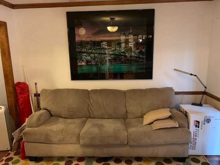 Comfy couch great for a one night stay