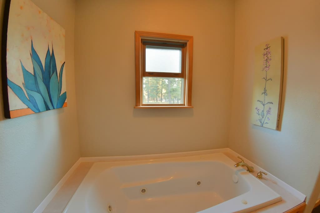 Jacuzzi Tub with Kelly's art on the walls.