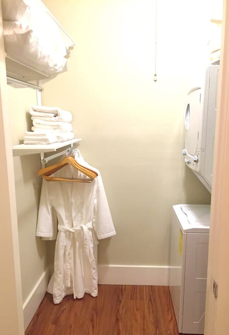 Walk in closet with laundry.