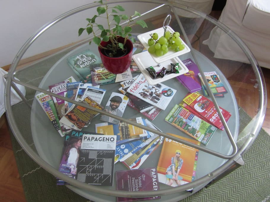 Feel on top of what's on from your own living room.  I regularly top up the pamphlets.